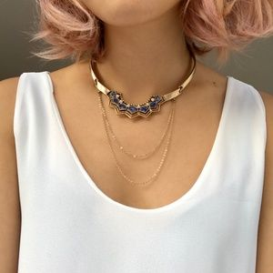 Chloe + Isabel Golden Lotus Collar Necklace NWT